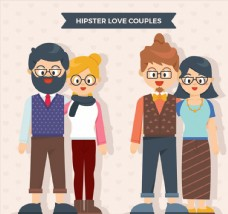 2对戴眼镜的情侣设计