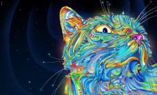 彩色猫咪插画