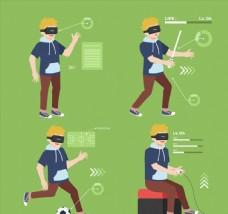 4款创意戴VR头显的男子