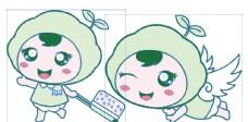 天使 绿色 动漫 矢量图 卡通