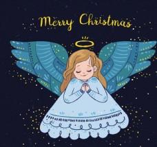 彩绘金发祈祷的圣诞天使