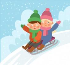 卡通玩雪橇的2个孩子
