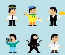 6款卡通职业男子