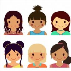 6款可爱女孩头像矢量素材