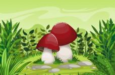 卡通郊外草地里的蘑菇
