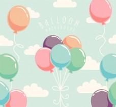 创意天空中的彩色气球束
