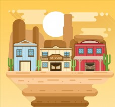 创意美国西部小镇风景