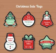 6款彩色圣诞节折扣吊牌