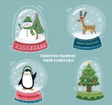 4款彩色圣诞雪花玻璃球