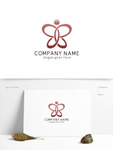 红色柔美蝴蝶人形餐饮logo
