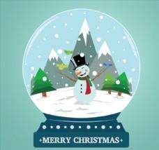 可爱雪人雪花玻璃球