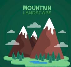 卡通雪山风景矢量素材