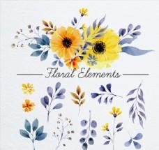 12款水彩绘花卉和叶子