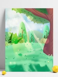 彩绘夏至节气草地树林背景设计