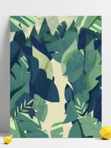 夏季纹理绿叶背景设计