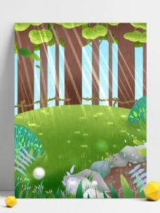 清新夏季树林阳光背景设计