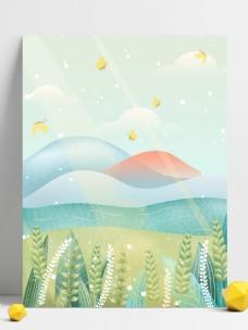 清新小满节气海边麦穗背景设计