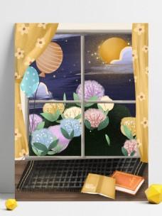 夏季窗外美景背景设计