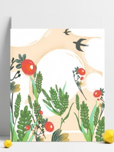 小满节气柿子小麦背景设计