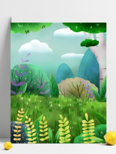 清新小满节气小麦草地背景设计