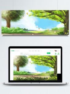 清新夏季公园背景设计