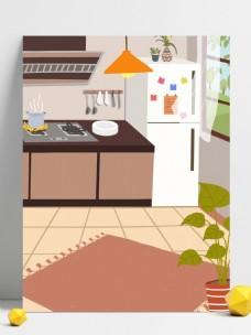 清新夏日厨房背景设计