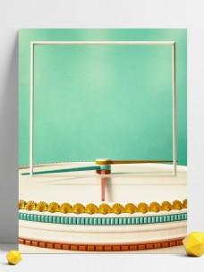 3D复古风立体钟表盘面透视感方形边框背景