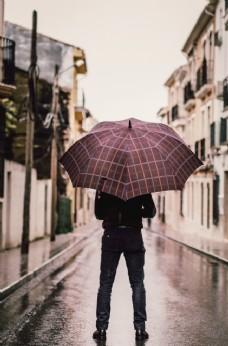 男人雨中撑伞背影