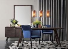 北欧 餐桌 餐椅 吊灯 化妆柜