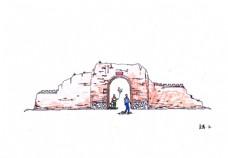 古代残墙手绘