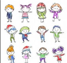 儿童画小人图案