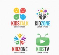 4款彩色儿童节目标志矢量素材