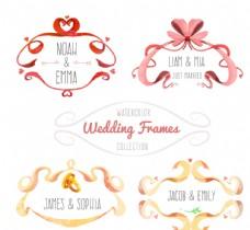 水彩绘婚礼丝带框架矢量图