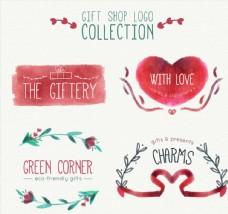 水彩绘礼品店标志