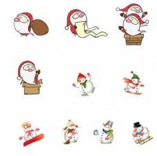 圣诞节圣诞老人和雪人