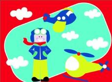 飞行员飞机卡通矢量图