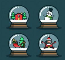 4款可爱圣诞雪花玻璃球矢量素材