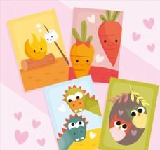 4款可爱卡通动植物情侣卡片