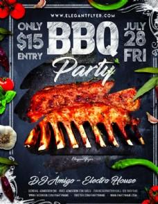 BBQ烧烤餐厅海报