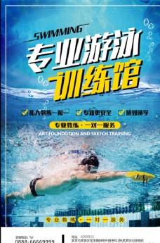 专业游泳健身招生海报