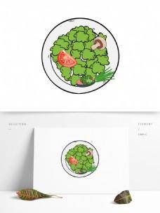 可爱手绘蔬菜盘元素