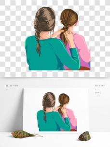 编辫子的女孩人物图案