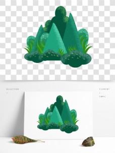 卡通简约绿色风景装饰素材