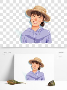 戴帽子的女孩图案元素