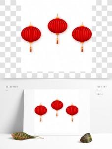 红色3灯笼装饰元素