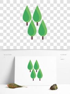 清新水彩树木卡通透明素材