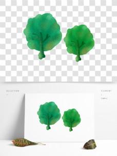 春季手绘树木卡通透明素材