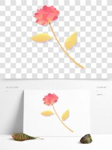 红色水彩花卉PNG素材