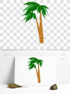 手绘绿色椰子树卡通透明素材