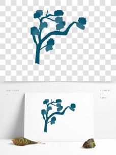 手绘水彩树木卡通透明素材